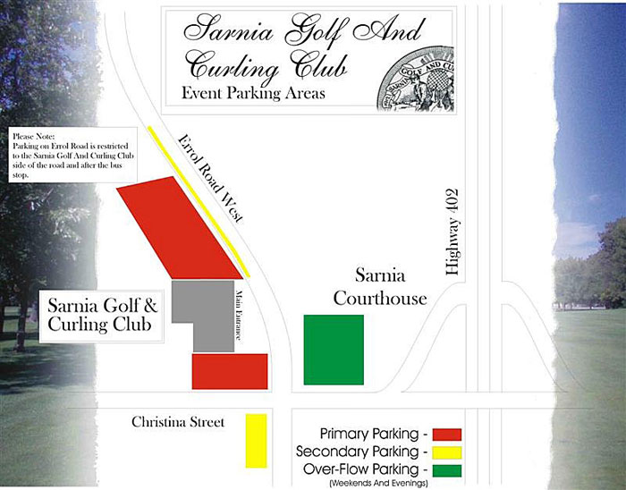 Sarnia Golf and Curling Club Event Parking area